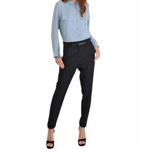 NWT The Kooples Trousers Pants Black Wool Leather